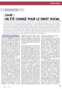 DROIT SOCIAL: 2008 : Un été chargé pour le droit social